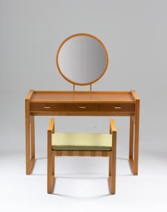 Nybro Fr seke Swedish Vanity Table in Teak Oak and Brass by AB Nybrofabriken - 1284963