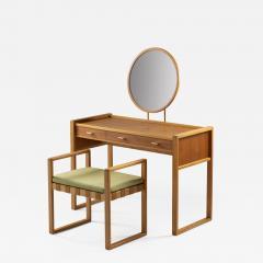 Nybro Fr seke Swedish Vanity Table in Teak Oak and Brass by AB Nybrofabriken - 1288096