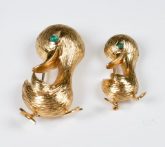 O J Perrin OJ Perrin Pair of 18 Karat Gold Duck Brooches - 964112