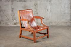 OPEN ARM CHAIR WITH SLING LEATHER UPHOLSTERY - 914739