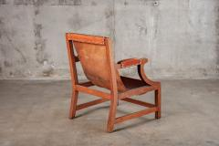 OPEN ARM CHAIR WITH SLING LEATHER UPHOLSTERY - 914742