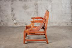 OPEN ARM CHAIR WITH SLING LEATHER UPHOLSTERY - 914745