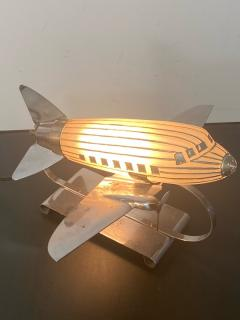 ORIGINAL ART DECO GLASS AND CHROME AIRPLANE LAMP - 1963575