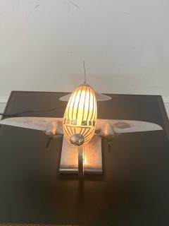 ORIGINAL ART DECO GLASS AND CHROME AIRPLANE LAMP - 1963576