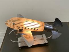 ORIGINAL ART DECO GLASS AND CHROME AIRPLANE LAMP - 1963579