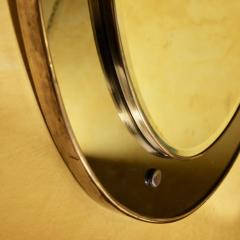 OVAL MIRROR IN WOOD BRASS WITH CURVED AND GROUND COLORED GLASS - 2003051