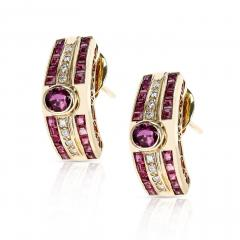OVAL RUBY AND INVISIBLY SET SQUARE RUBY AND ROUND DIAMOND EARRINGS 18K GOLD - 2101228