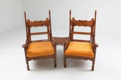 Oak Throne Chairs With Adjustable Side Table 1950s - 1248861
