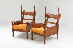 Oak Throne Chairs With Adjustable Side Table 1950s - 1248862