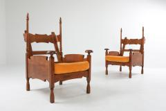 Oak Throne Chairs With Adjustable Side Table 1950s - 1248863