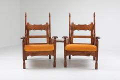 Oak Throne Chairs With Adjustable Side Table 1950s - 1248865