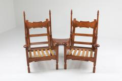 Oak Throne Chairs With Adjustable Side Table 1950s - 1248866