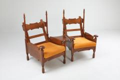 Oak Throne Chairs With Adjustable Side Table 1950s - 1248867
