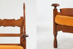 Oak Throne Chairs With Adjustable Side Table 1950s - 1248868