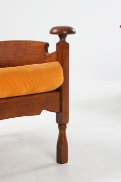 Oak Throne Chairs With Adjustable Side Table 1950s - 1248869
