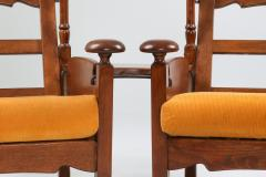 Oak Throne Chairs With Adjustable Side Table 1950s - 1248870