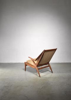 Oak lounge chair with fold out footstool - 1300592