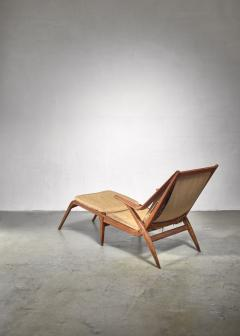 Oak lounge chair with fold out footstool - 1300593