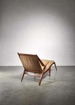 Oak lounge chair with fold out footstool - 1300595