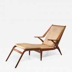 Oak lounge chair with fold out footstool - 1301038