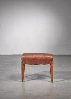 Oak piano stool or ottoman with thick cushion - 1735245