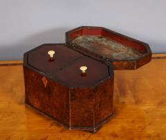Octagonal Burl Oak Tea Caddy - 685787