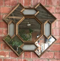 Octagonal Geometrical Wood Wall Mirror Italy 1950s - 1140021