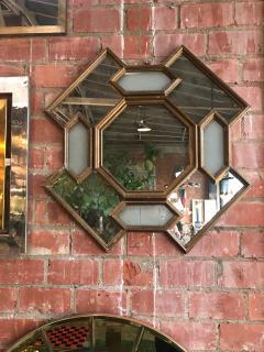 Octagonal Geometrical Wood Wall Mirror Italy 1950s - 1140024