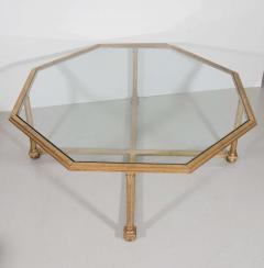 Octagonal Gilt Coffee Table with Glass Top - 696530