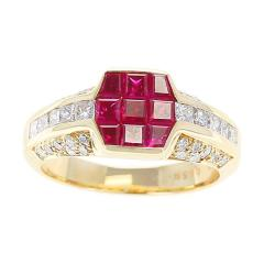 Octagonal Mystery Set Ruby and Diamond Ring 18 Karat Yellow Gold - 1795451