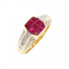 Octagonal Mystery Set Ruby and Diamond Ring 18 Karat Yellow Gold - 1797665