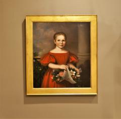 Oil on Canvas Girl in a Red Dress With Flowers Circa 1825 America - 1732359