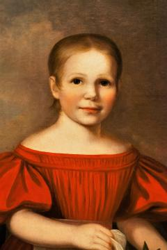 Oil on Canvas Girl in a Red Dress With Flowers Circa 1825 America - 1732361