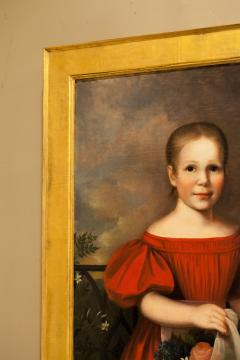 Oil on Canvas Girl in a Red Dress With Flowers Circa 1825 America - 1732362