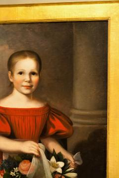 Oil on Canvas Girl in a Red Dress With Flowers Circa 1825 America - 1732368