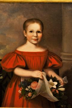 Oil on Canvas Girl in a Red Dress With Flowers Circa 1825 America - 1732369