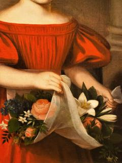 Oil on Canvas Girl in a Red Dress With Flowers Circa 1825 America - 1732370