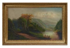 Oil on Canvas Hudson Valley River School Painting  - 944533