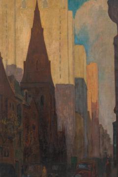 Oil on Canvas Painting of St Marks Church in Philadelphia by Yarnall Abbott - 1233130