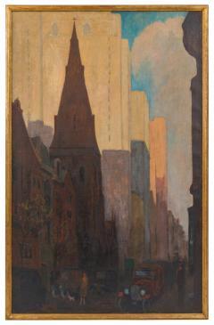 Oil on Canvas Painting of St Marks Church in Philadelphia by Yarnall Abbott - 1233131