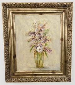 Oil on Canvas Still Life Painting of Flowers and Lavender Framed and Signed - 1633509