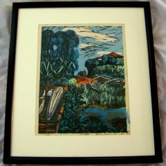 Okiie Hashimoto Mid Century Woodblock Print Hachijo Yaene by Okiie Hashimoto - 481952