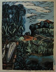 Okiie Hashimoto Mid Century Woodblock Print Hachijo Yaene by Okiie Hashimoto - 481953