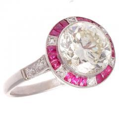 Old European Cut 2 81 Carat Diamond Ruby Platinum Engagement Ring - 359982