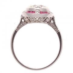 Old European Cut 2 81 Carat Diamond Ruby Platinum Engagement Ring - 359983