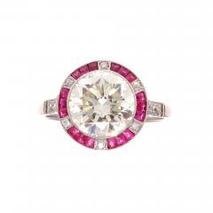 Old European Cut 2 81 Carat Diamond Ruby Platinum Engagement Ring - 360297