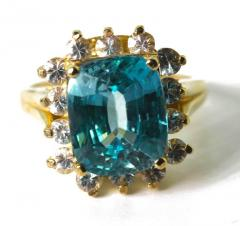 Old Hollywood Intense Glittering Natural Zircon Sapphire Gold Ring - 1583816