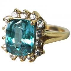 Old Hollywood Intense Glittering Natural Zircon Sapphire Gold Ring - 1583818