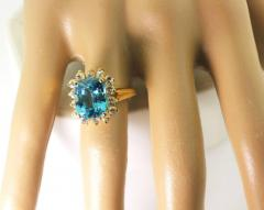Old Hollywood Intense Glittering Natural Zircon Sapphire Gold Ring - 1583819
