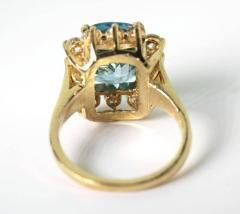 Old Hollywood Intense Glittering Natural Zircon Sapphire Gold Ring - 1583820
